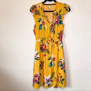 Old Navy Yellow Tropical Floral Dress NWT